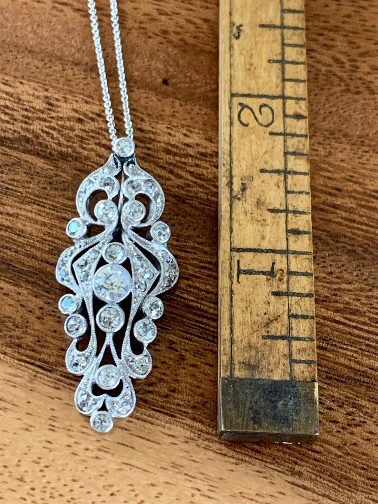 Antique Euro Cut Diamond Platinum Pendant and 14 Karat White Gold Chain For Sale 3