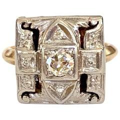Antique Euro Cut Diamond Platinum-Topped Mount 14 Karat Gold Ring