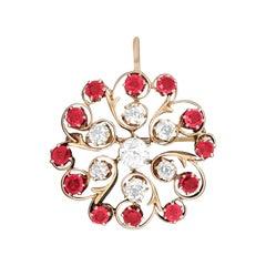 Antique European 3.70 Carat Diamond and Ruby Pin/Pendant 'GIA'