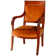Antique European Biedermeier Walnut Armchair, circa 1820