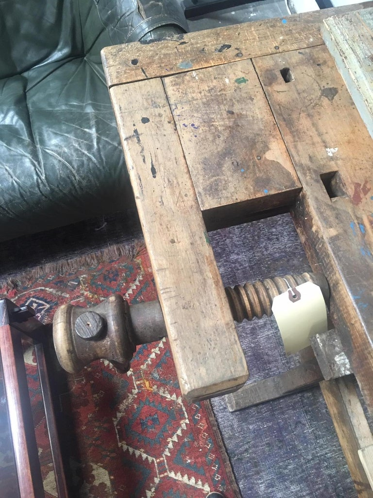 19th Century Antique European Carpentry Table For Sale