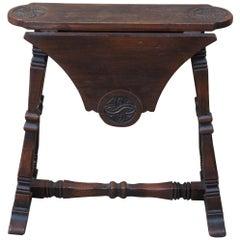 Antique European Carved Oak Petite Drop-Leaf Side End Table Celtic Knot