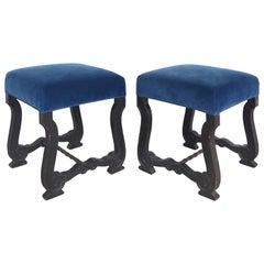 Antique European Carved Wood Stools Upholstered in Velvet, Pair