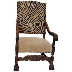 Antique European Chair Newly Upholstered in Edelman Faux Zebra Leather