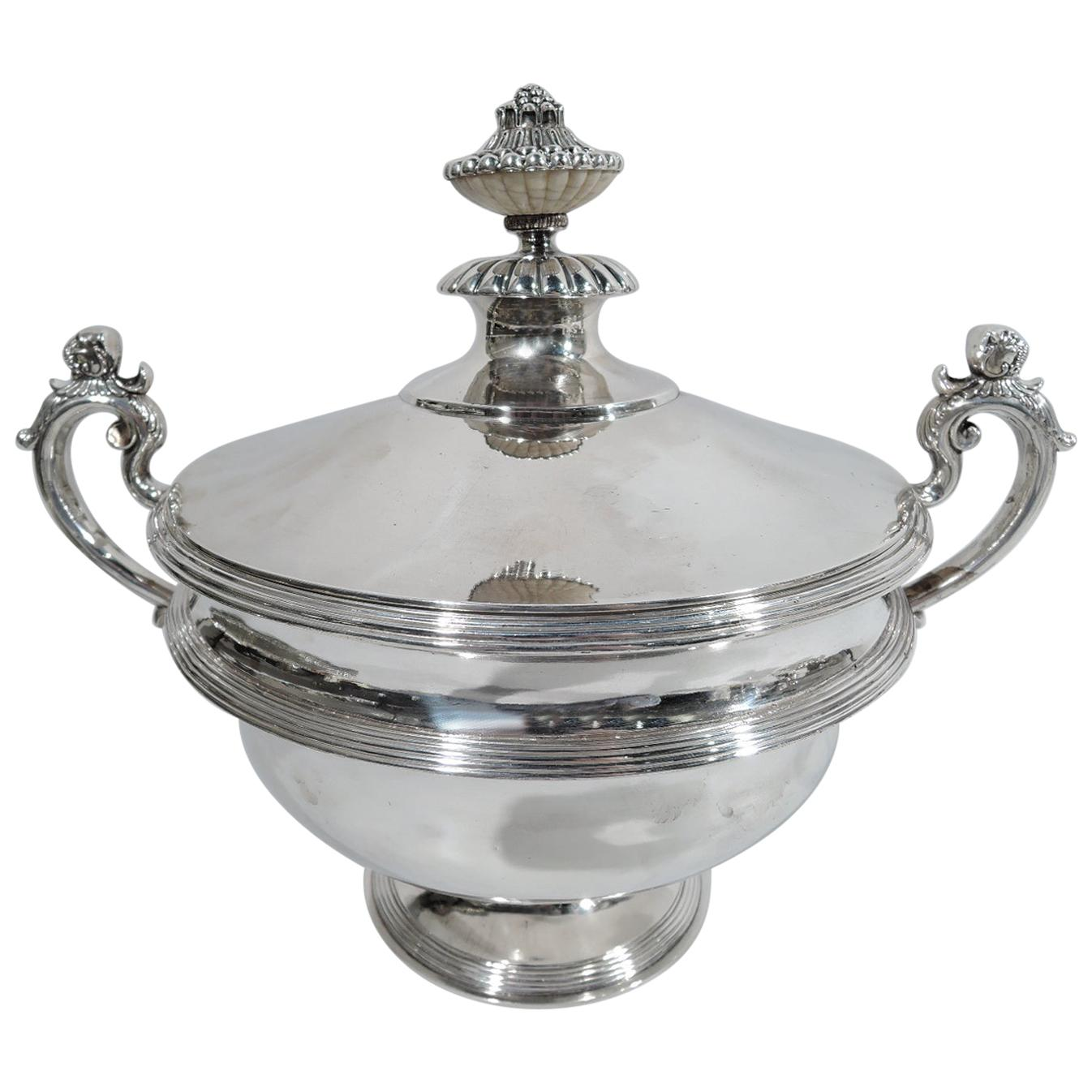 Antique European Classical Handmade Silver Soup Tureen