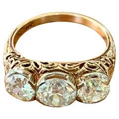 Antique European Cut Diamond 14 Karat Yellow Gold 3-Stone Ring