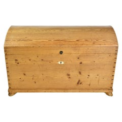 Antique European Dome-Top Blanket Chest in Pine with Interior Glove Box
