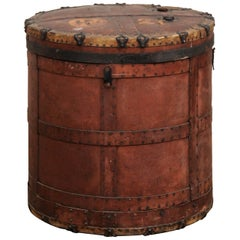 Antique European Drum-Shaped Storage Vessel with Removable Lid Top