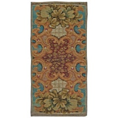 Antique European Fragment Botanic Handmade Wool Rug