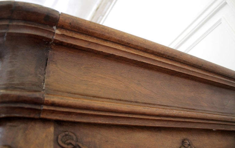 Antique European French Provincial Carved Roses Armoire Cabinet For Sale 14