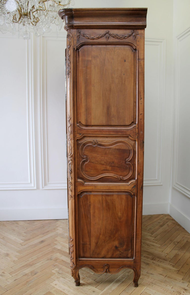 19th Century Antique European French Provincial Carved Roses Armoire Cabinet For Sale