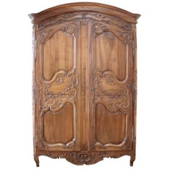Antique European French Provincial Carved Roses Armoire Cabinet