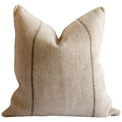 Antique European Grain Sack Pillows with Dark Brown Stripe