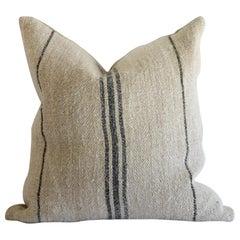 Antique European Grainsack Pillow with Black and Indigo Stripe