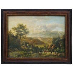 Antique European Landscape Oil Painting on Board Countryside Cattle Farm Cow