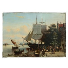 European Maritime Oil on Canvas Painting of Colonial Harbor Scene 18th Century