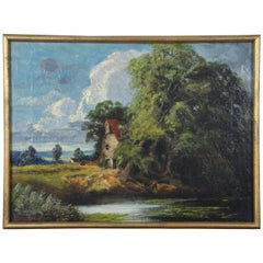 Antique European Oil Landscape on Canvas Fisherman River Cottage Charles Martin