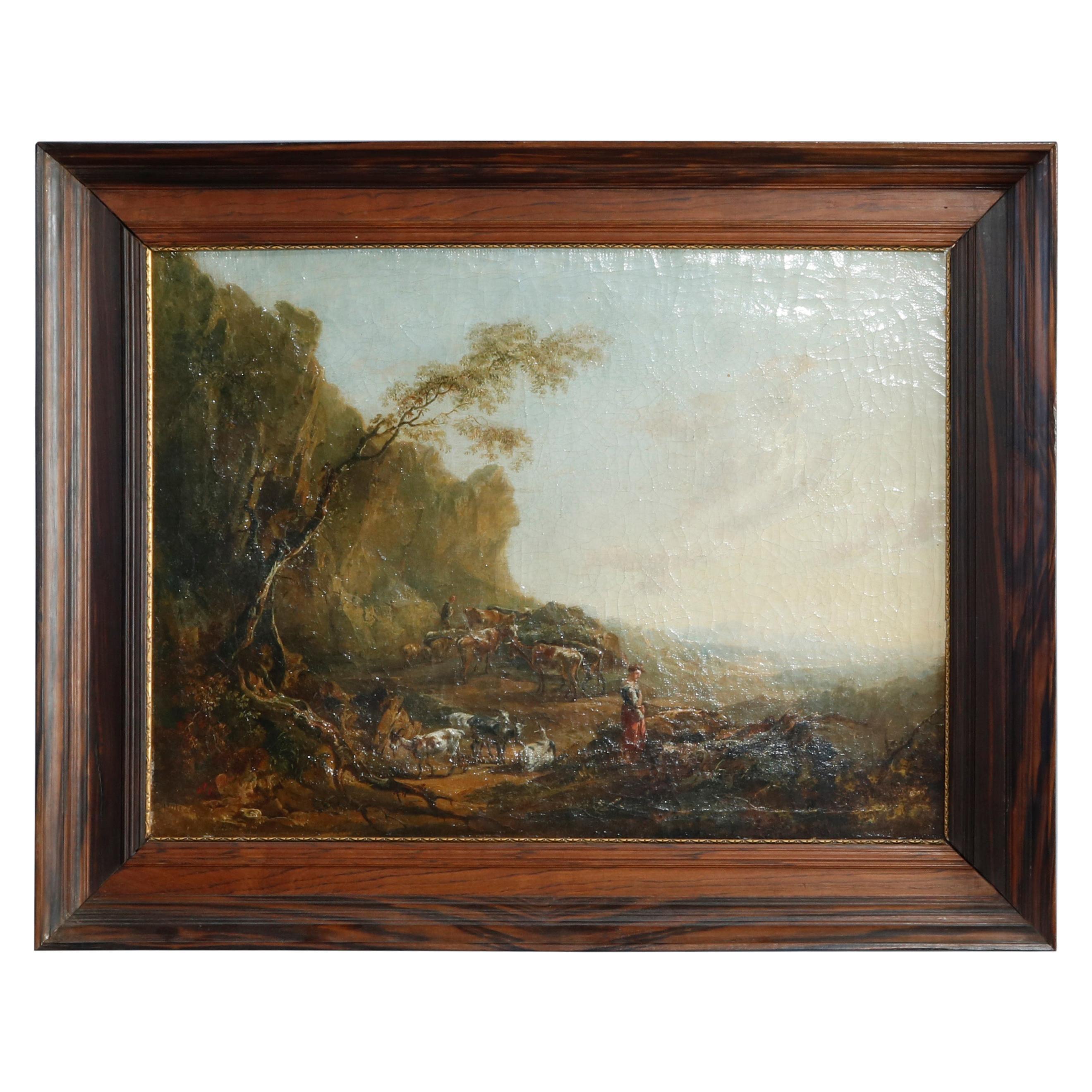 Antique European Oil Painting, Landscape with Figures & Livestock, Mid-19th C