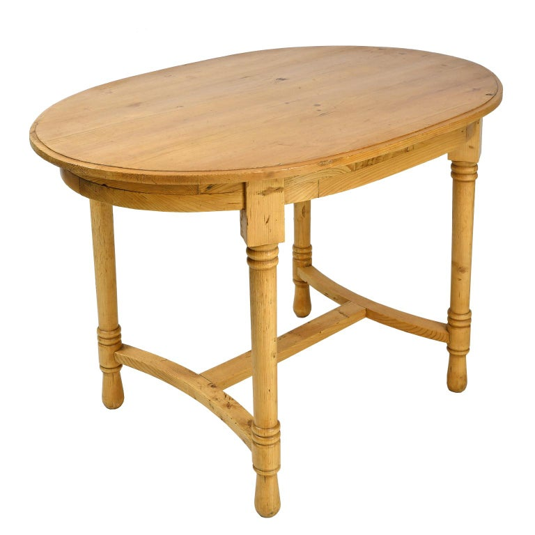 Hand-Crafted Antique European Oval Table in Pine, Danish or German, circa 1900 For Sale