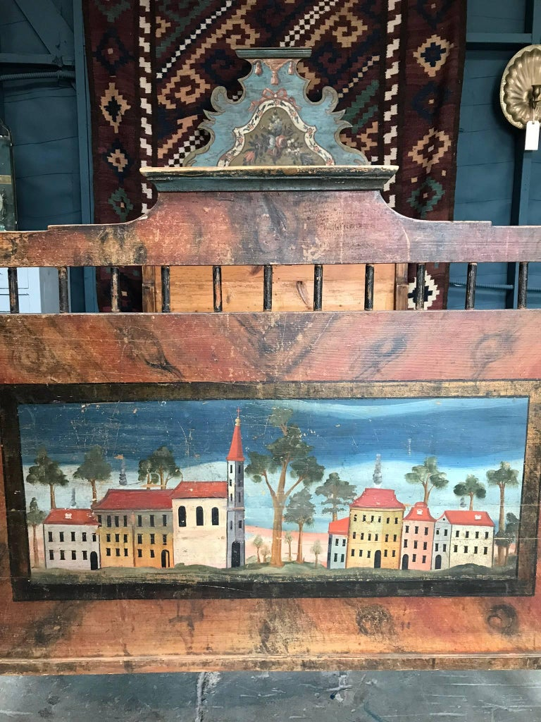 Romantic Antique European Painted Children's Bed For Sale