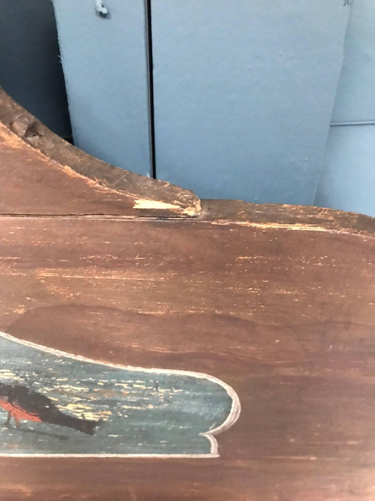 Hand-Painted Antique European Painted Children's Bed For Sale