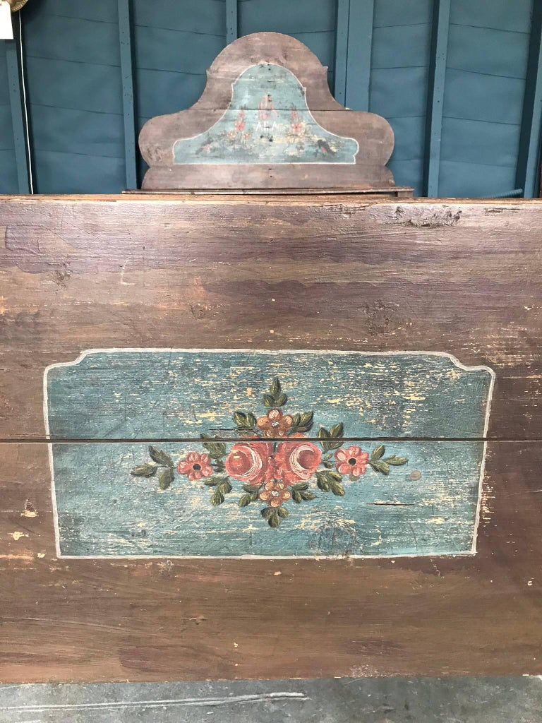 Wood Antique European Painted Children's Bed For Sale