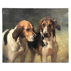 Antique European Painting of Two Dogs