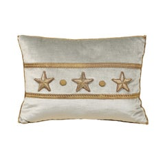 Antique European Raised Gold Metallic Stars on Pale French Blue Velvet Pillow