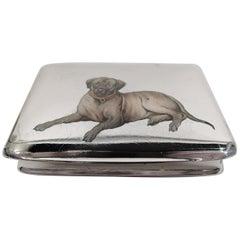 Antique European Silver and Enamel Cigarette Case with Mastiff Dog
