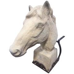 Antique European Stone Horse Sculpture