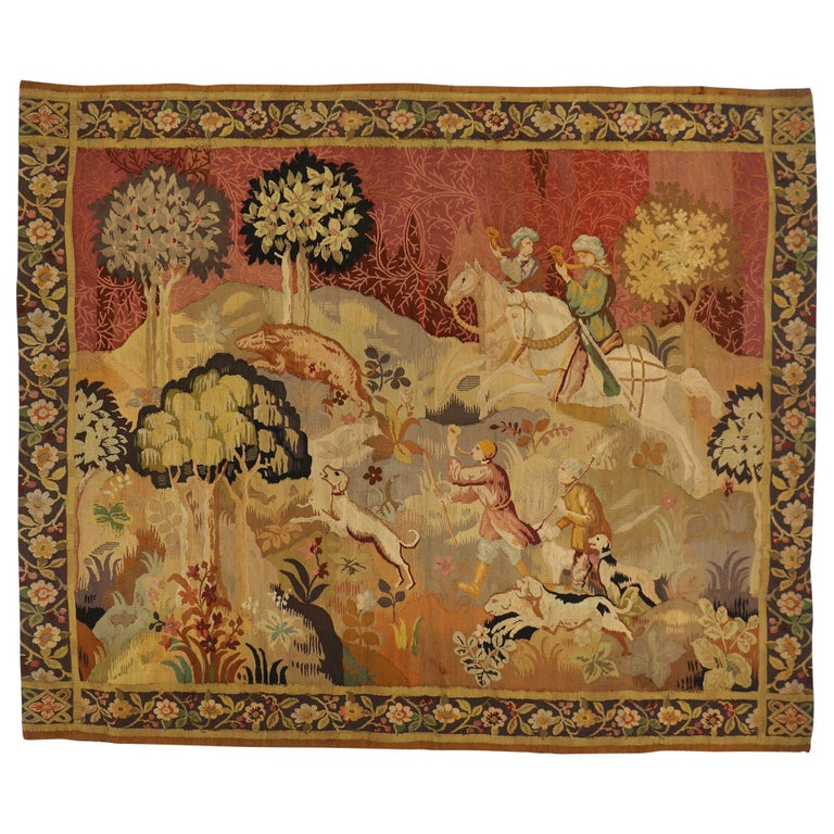 Antique European Tapestry With Medieval Hunting Scene