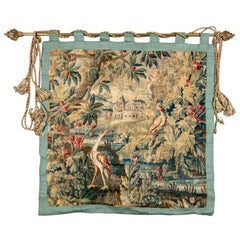 Antique European Tapestry with River Landscape