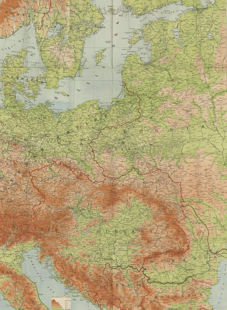 Antique folding map of the European War (1914-1915) titled 'The Eastern Campaign '. From Petrograd to Berlin, geographically colored. Published on linen by W. & A.K. Johnston.
