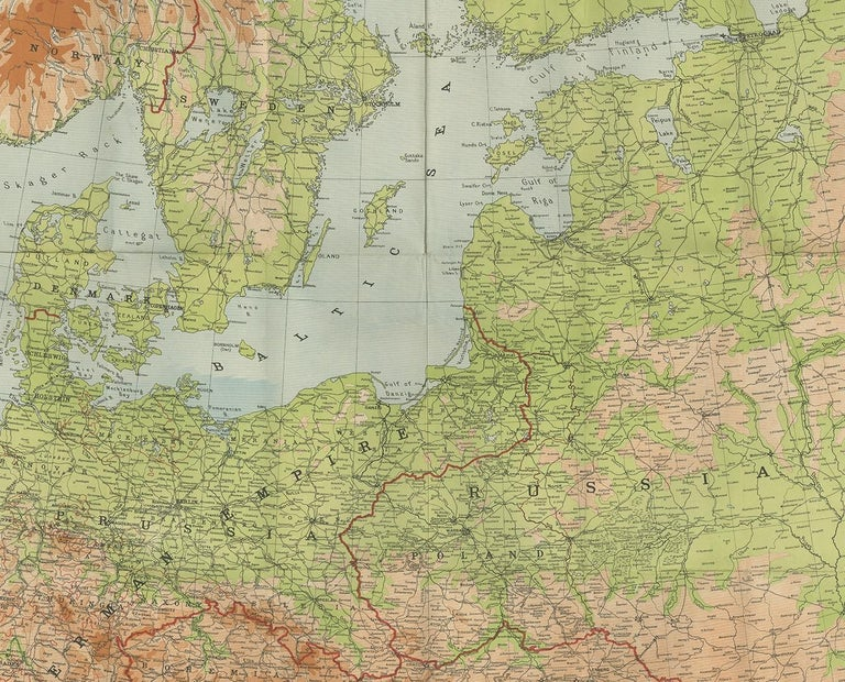 Antique European War Folding Map, 'circa 1915' In Good Condition For Sale In Langweer, NL
