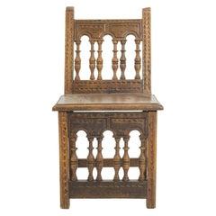 Antique European Wooden Accent Chair