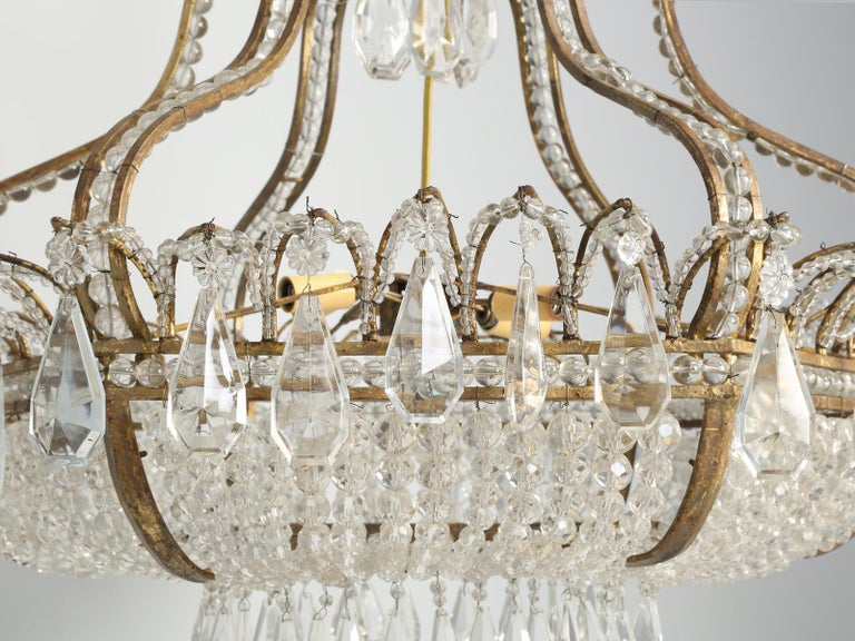 Antique Exceptional Six-Light Italian Chandelier with Original Canopy For Sale 4