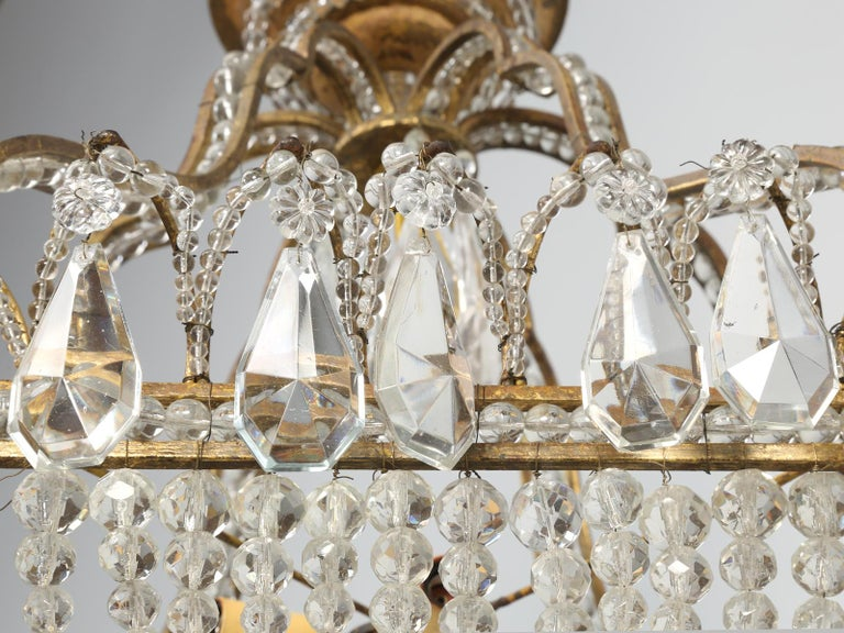 Antique Exceptional Six-Light Italian Chandelier with Original Canopy For Sale 5