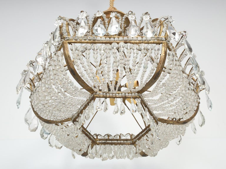 Antique Exceptional Six-Light Italian Chandelier with Original Canopy For Sale 10