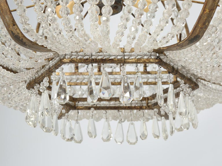 Antique Exceptional Six-Light Italian Chandelier with Original Canopy For Sale 13