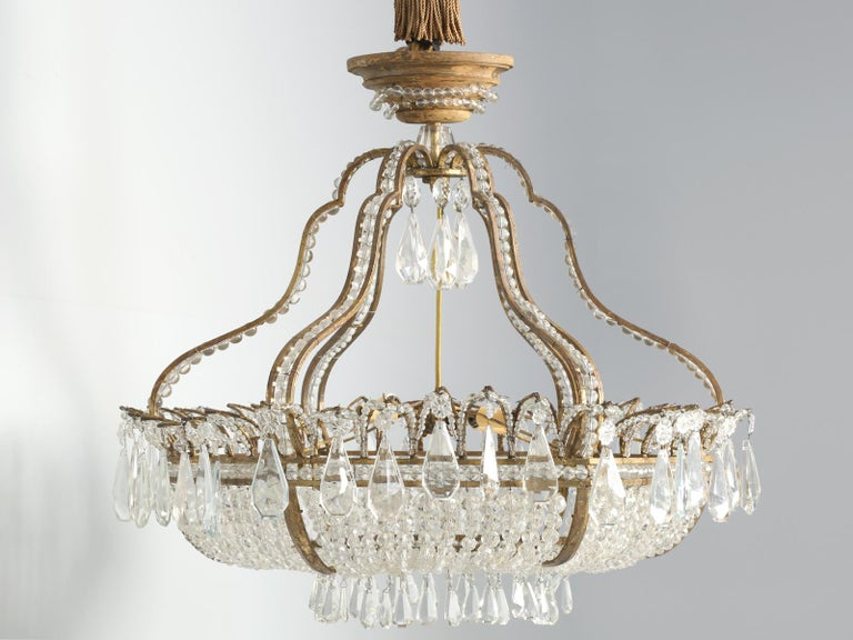 Antique Exceptional Six-Light Italian Chandelier with Original Canopy In Good Condition For Sale In Chicago, IL