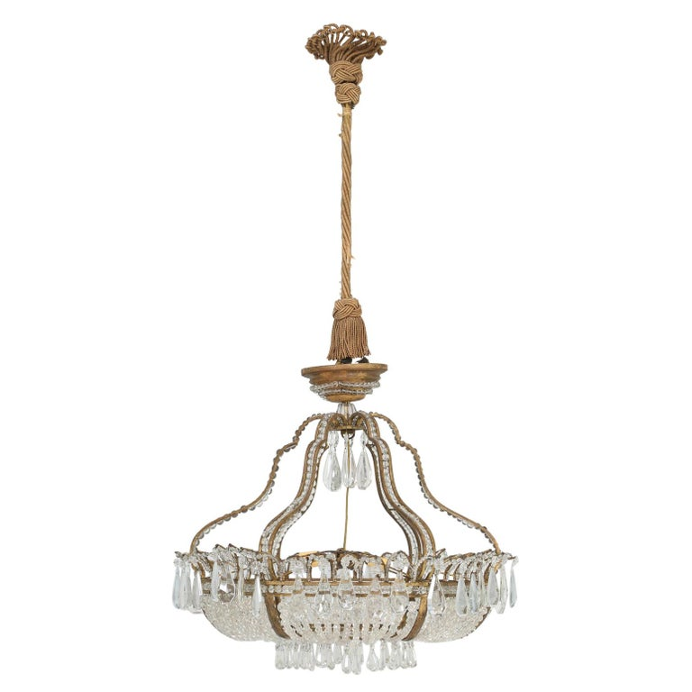 Antique Exceptional Six-Light Italian Chandelier with Original Canopy For Sale