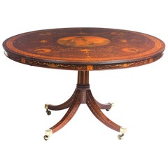 Antique Exhibition Quality English Mahogany Marquetry Centre Table, 19th Century