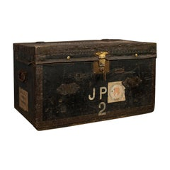 Antique Explorer's Portmanteau, English, Canvas, Travel, Trunk, Chest, Victorian