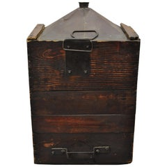 Antique Export Tin Metal Transport 5 Gallon Canister Container with Wood Case