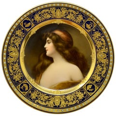 "Antique Exquisite ""Royal Vienna"" Portrait Plate, Bee-Hive Mark, circa 1890-1900"