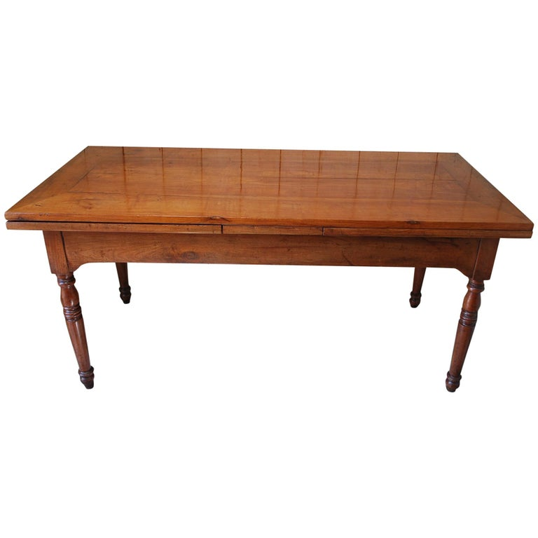 Wood Dining Table For Sale: Antique Extending Cherry Wood Farmhouse Kitchen Dining