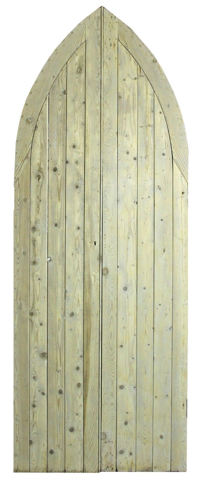 Gothic Antique Exterior Arched Pine Door For Sale