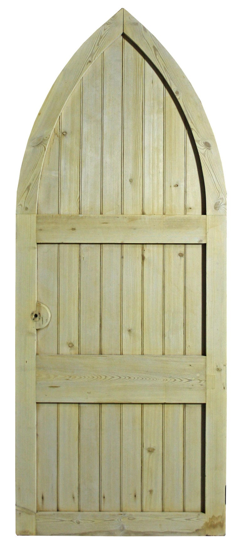 English Antique Exterior Arched Pine Door For Sale