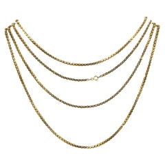 Antique Extra Long 10k Yellow Gold Box Starred Chain Necklace