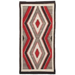 "Antique ""Eye Dazzler"" Navajo Carpet, Folk Rug, Handmade Wool, Beige, Red, Brown"